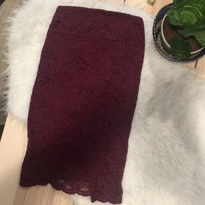 EXPRESS Maroon high waisted lace skirt